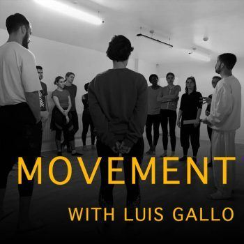 An image of movement teacher Luis Gallo with students in a recent movement workshop